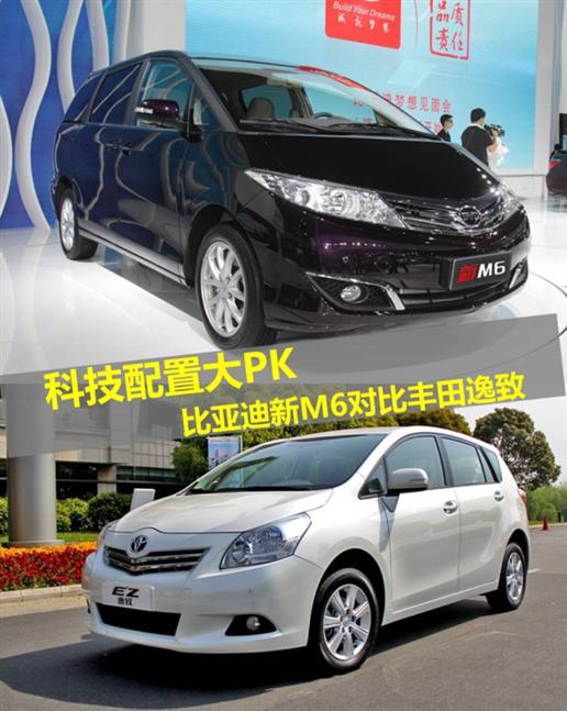 科技配置大pk 比亚迪新m6 对比丰田逸致
